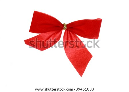 red ribbon,isolated on white
