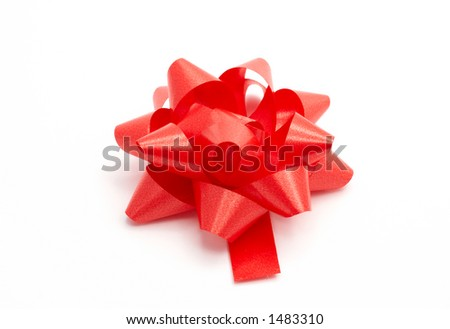Red ribbon, isolated on white background