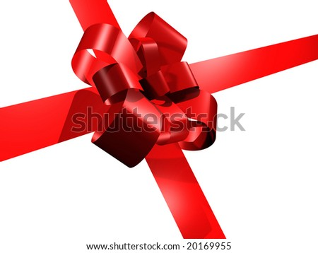 Red ribbon isolated over a white background. Big copy space