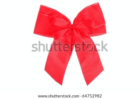 Red ribbon - isolated over white - stock photo