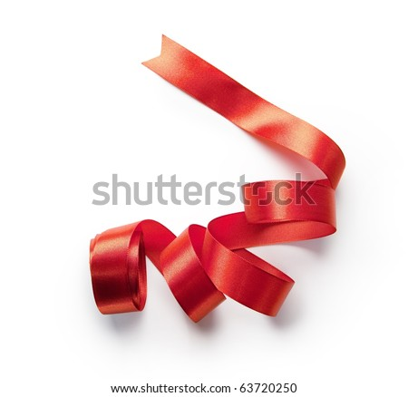 Red ribbon nicely uncurled, isolated on pure white. Preparation for gift wrapping.