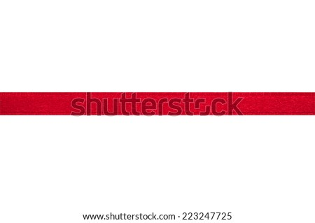 Red ribbon on a white background with clipping paths. - stock photo