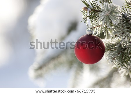 Red ribbon on the Christmas tree with snow - stock photo