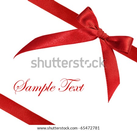 red ribbon on white background - stock photo
