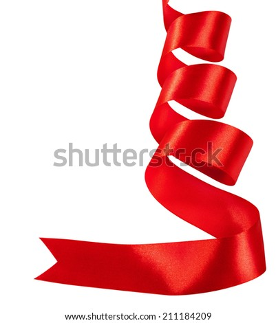Red ribbon on white background. Clipping Path