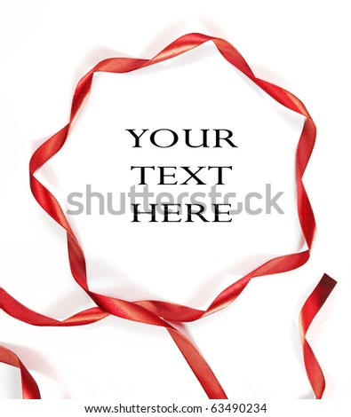 red ribbon on white background with space - stock photo