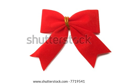 red ribbon over white background