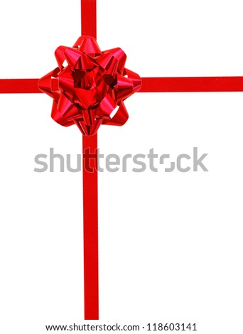 Red ribbon over white paper - stock photo