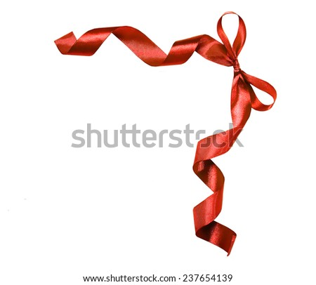 red ribbon with a bow. Element of decoration. Isolated on white background - stock photo