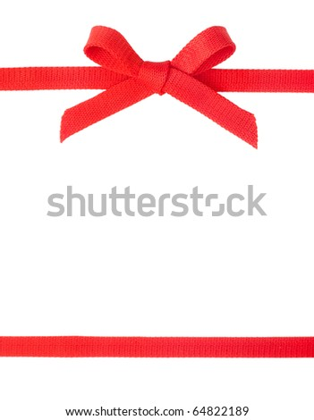 Red ribbon with a bow isolated on white background - stock photo