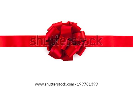 red ribbon with a bow on a white - stock photo