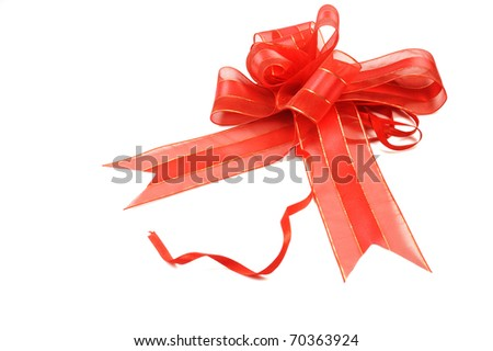 Red ribbon with bow - stock photo