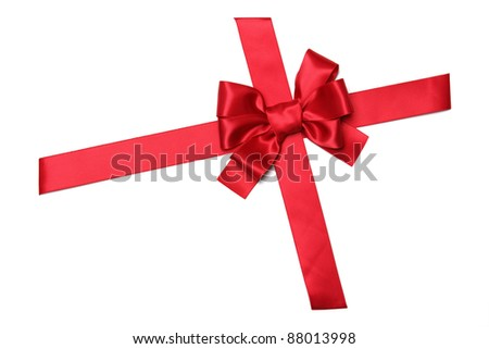 Red ribbon with bow isolated on white - stock photo