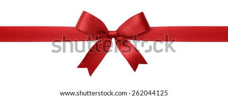 red ribbon with bow isolated on white background - stock photo
