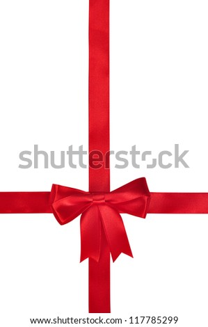 Red ribbon with bow isolated on white background. Clipping path included. - stock photo