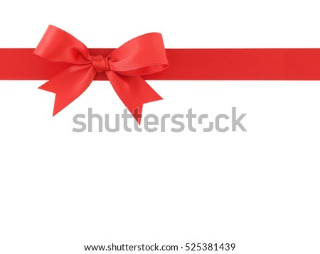 red ribbon with bow isolated on white background, simplicity decoration for add beauty to gift box and greeting card, flat lay close-up top view