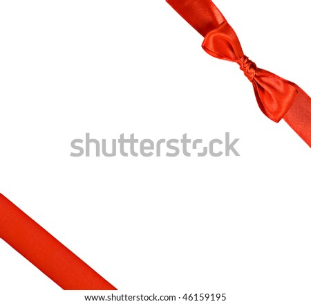 Red ribbon with bow isolated on white, square format - stock photo