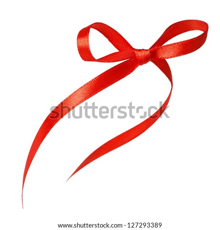 Red ribbon with bow isolated over white background - stock photo
