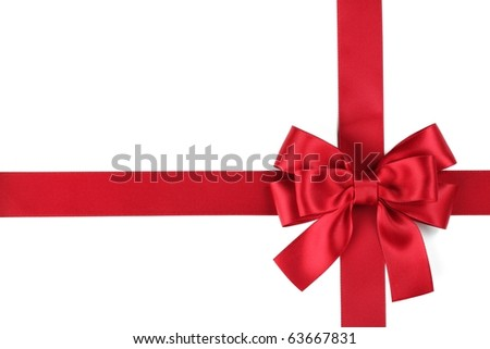 Red ribbon with bow on white - stock photo