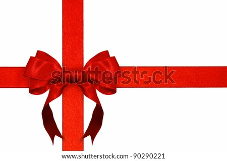 Red ribbon with bow on white background - stock photo
