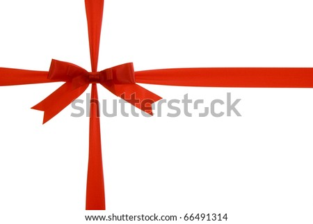 red ribbon with red bow on gift