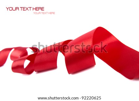 Red ribbon with white space for your text - stock photo