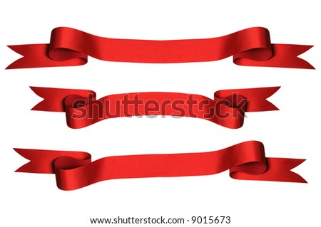 Red ribbons with bank space for text - PHOTOGRAPH - stock photo