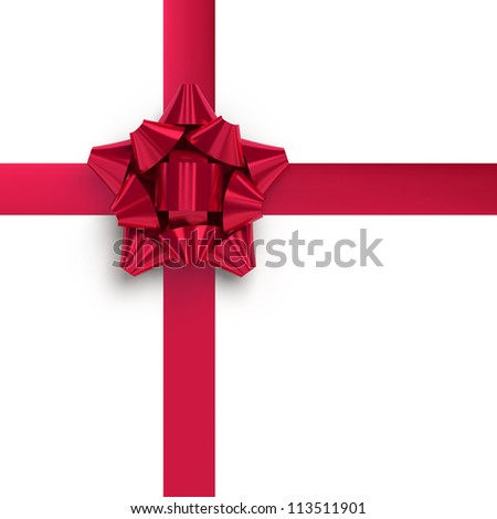 Red ribbons with bow for gift wrapping on white background - stock photo