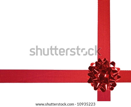 red ribbons with bow on a white background - stock photo