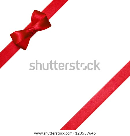red ribbons with simple bow isolated on white background - stock photo