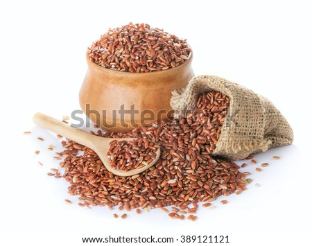 red rice in a bowl isolated on white background - stock photo