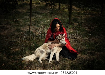red riding hood and the wolf outdoor in the wood - stock photo