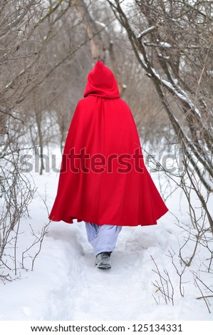 Red Riding Hood goes on a winter footpath to the wood - stock photo
