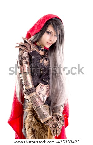 red riding hood isolated in white - stock photo