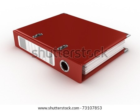 red ring binder isolated on the white background - stock photo