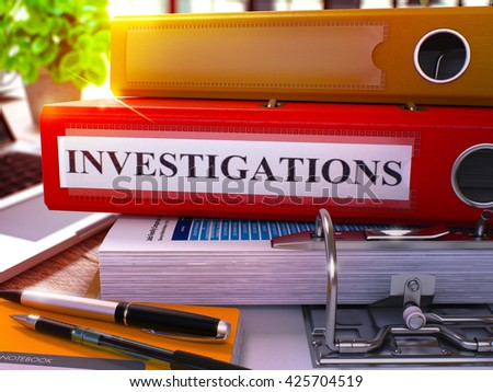 Red Ring Binder with Inscription Investigations on Background of Working Table with Office Supplies and Laptop. Investigations Business Concept on Blurred Background. 3D Render. - stock photo