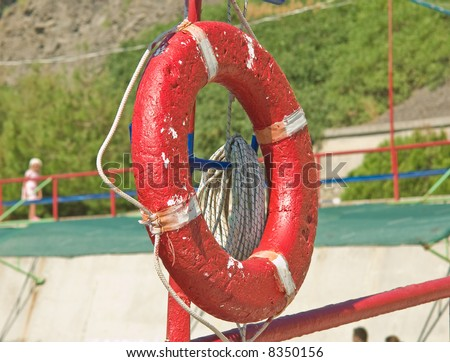 red ring-buoy - stock photo
