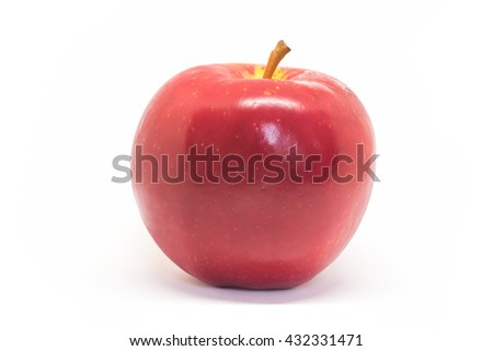 Red ripe apple isolated on white background.