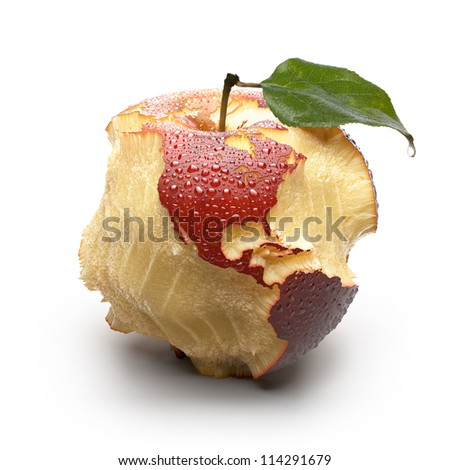 Red ripe apple. Its juicy pulp deeply carved oceans. Apple peel in the form of exact shape of continents is covered with water droplets. Isolated on a white background - stock photo