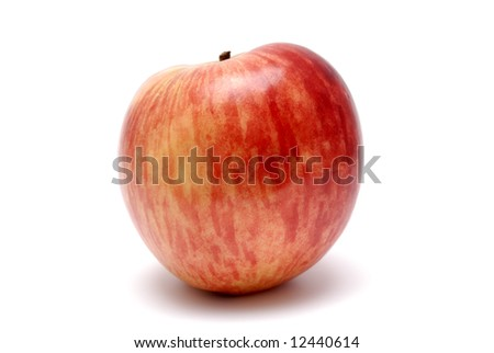 Red ripe apple on a white background