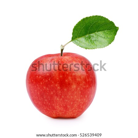 Red ripe apple with leaf isolated on white background