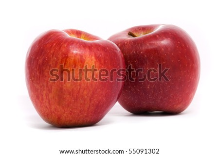 Red ripe apples isolated on white background - stock photo