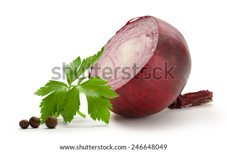Red ripe bulb of onion on white - stock photo