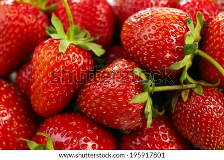 Red ripe strawberries, close up