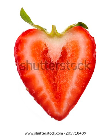 Red ripe strawberry, isolated on white - stock photo