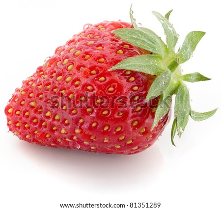 Red ripe strawberry with droplets on white background