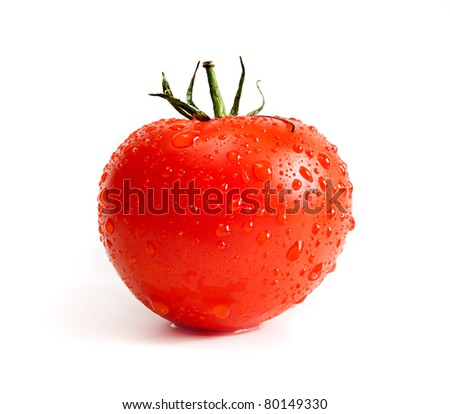 red ripe tomato isolated on white background - stock photo