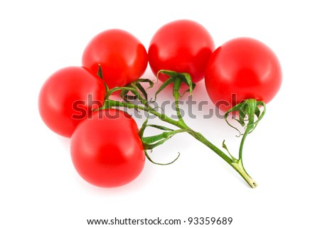 Red ripe tomato isolated on white background