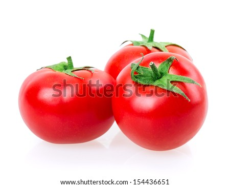red ripe tomato on white background - stock photo