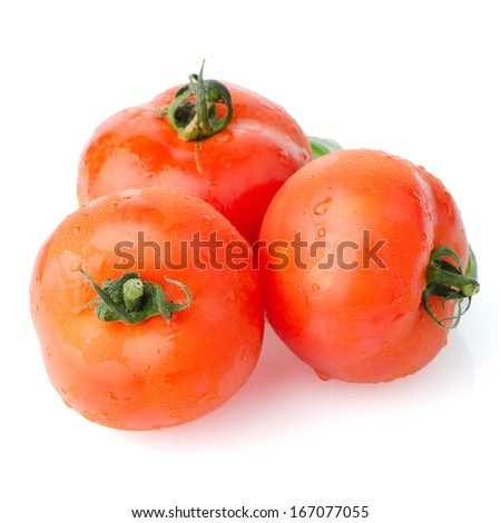 Red ripe tomato vine isolated on white background.